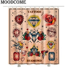 3D Diamond Printed Shower Curtains New 2017 France Tattoo Styles Luxury Hotel Bathroom Curtains