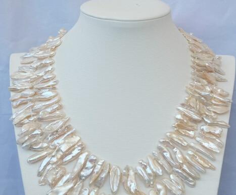 ENVÍO LIBRE >>@@@ A3653 2 strds 9x30mm Blanco Keshi collar de Perlas