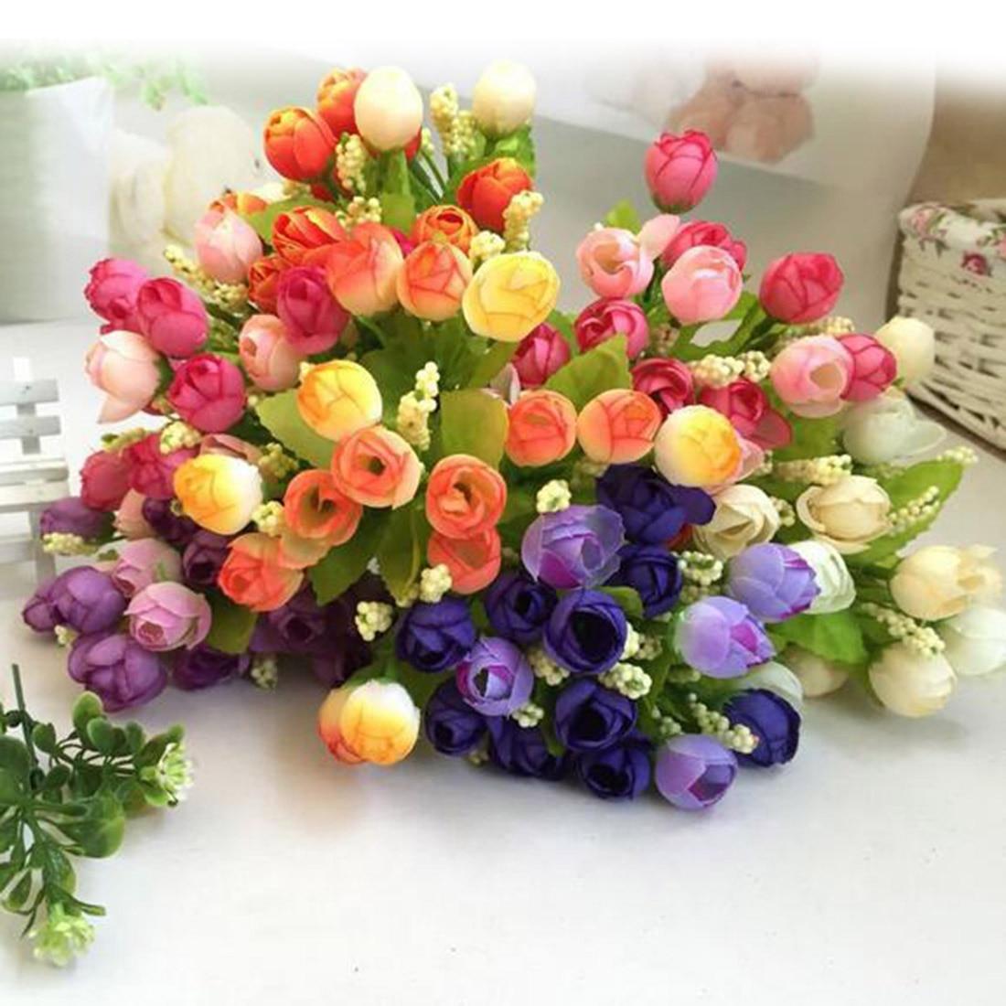 1 ramo de flores artificiales de 15 cabezas, flores artificiales de plástico artificiales para decoración del hogar, ramo de novia, regalos alegres, bonsái de decoración para bodas