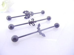 Lot 50pcs Free Shippment 16g~1.2mm ALL BLACK  Industrial Ear Scaffold Barbells  Body Jewelry Ear Piercing Mix Logos
