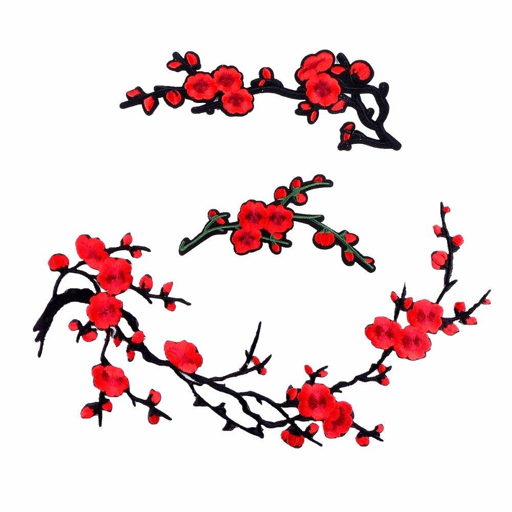 1 adet Erik Çiçeği Çiçek Demir on Yamalar 3D Işlemeli Yama Kırmızı Gül Aplike Dikmek DIY Onarım Aksesuarları Giysi yamalar