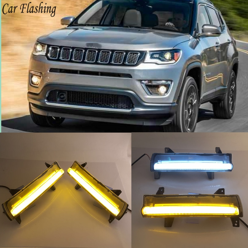 1 par intermitente para coche para Jeep Compass 2017 2018 2019 LED DRL luz diurna lámpara de señal amarilla impermeable