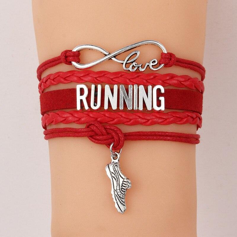 (10pcs/lot) Infinity Love RUNNING Bracelet Shoes Charm Leather Rope Wrap Bracelets & Bangles Jewelry For Women Men 7 Colors