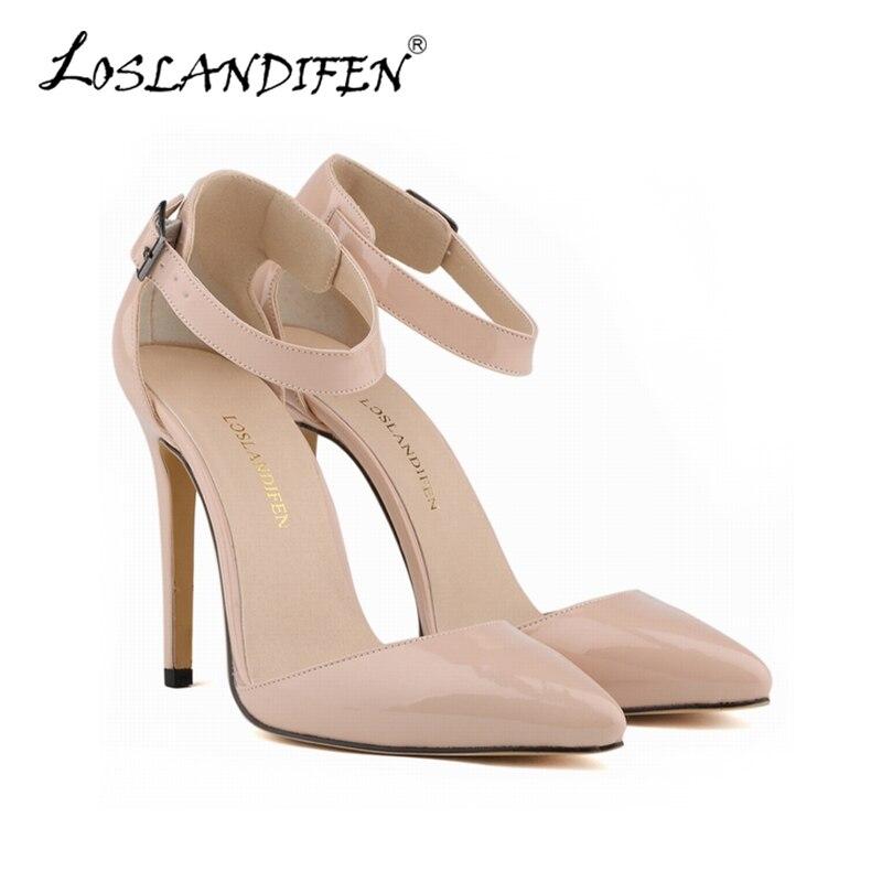 Loslandifen sapatos femininos de salto alto, nude stiletto com bico plataforma, sapatos para festa de casamento 302-28pa