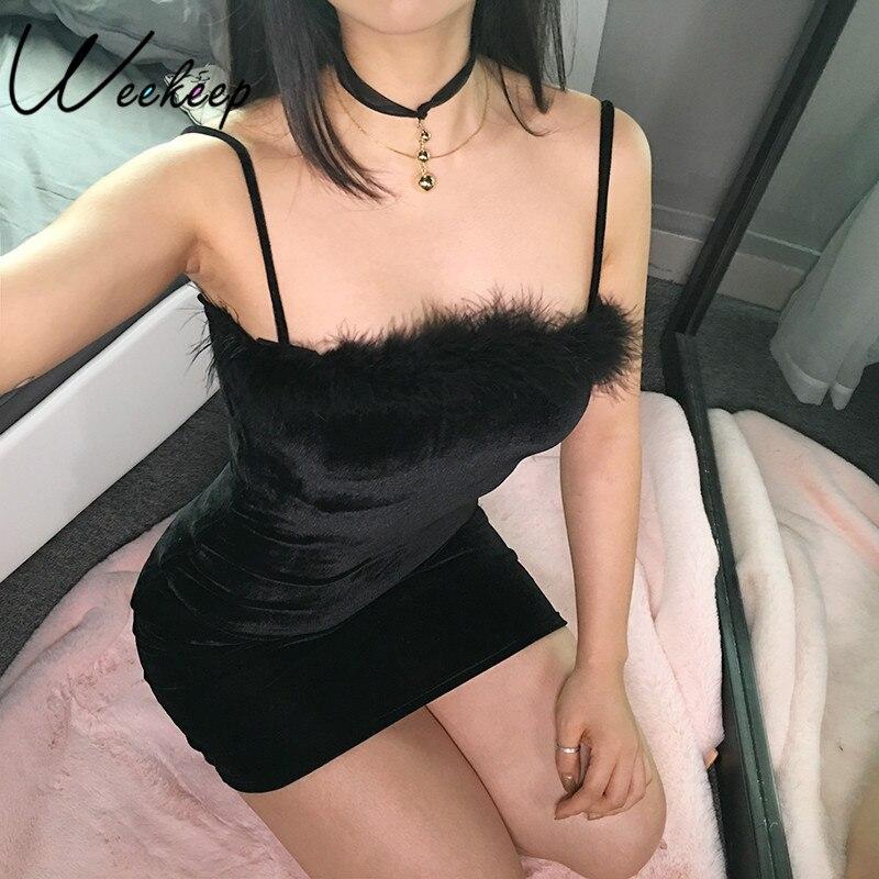 Weekeep sexy veludo espaguete cinta vestido feminino bainha bodycon pele do falso preto mini vestido de festa vestidos elegantes