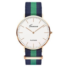Fashion Men Women Unisex Geneva Platinum Nylon Fabric watch Sport thin wrist Canvas Quartz Dress wri