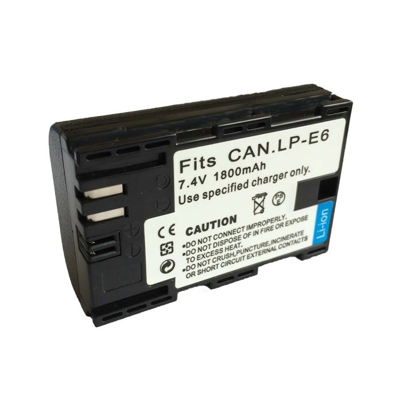 Venta al por mayor de alta calidad LP-E6 LP E6 7,4 V 1800mAh Paquete de batería de iones de litio para Canon 5D Mark II III 7D 60D EOS 6D 10 unids/lote
