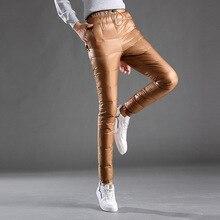 سروال نسائي للشتاء قابل للتعبئة سروال ضيق مبطن للوجه المزدوج سروال ضيق مرن سميك 80% سراويل نسائية مبطنة PT-150