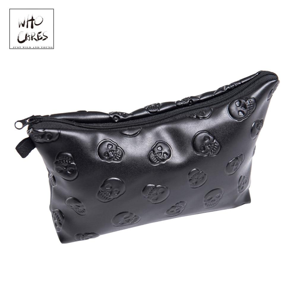 Black skull 3D Printing leather makeup bag women Fashion travel organizer PU cosmetic trousse de maquillage pencil case