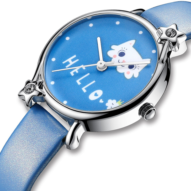KDM Lovely Girl Watch Cute Cat Child Watches Waterproof  Kids Watch Genuine Leather Kid Children Wristwatch Student Girls Clock big sale girl leather strap watch cute women wristwatch child mickey mouse watches girls fashion time lovely hour new pink kids