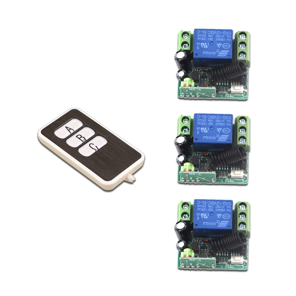 Hot Sales RF Wireless Remote Control Light Switch DC12V Mini 10A Intelligent Family System 3X Receiver+1X Waterproof Transmitter