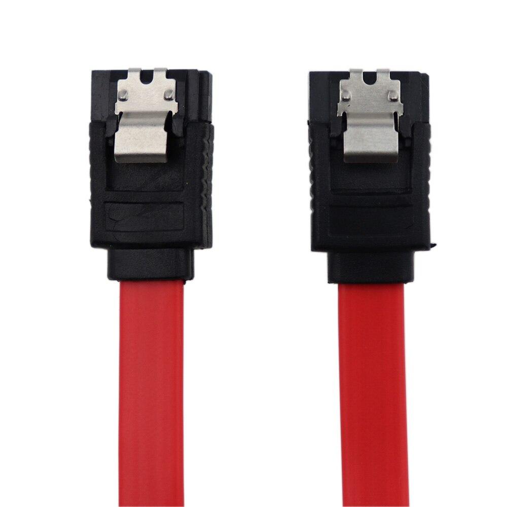 Cable de datos ATA SATA III de 6,0 Gbps de alta velocidad, Cable de datos de 7 pines con pestillo de bloqueo para SATA HDD SSD 45cm rojo