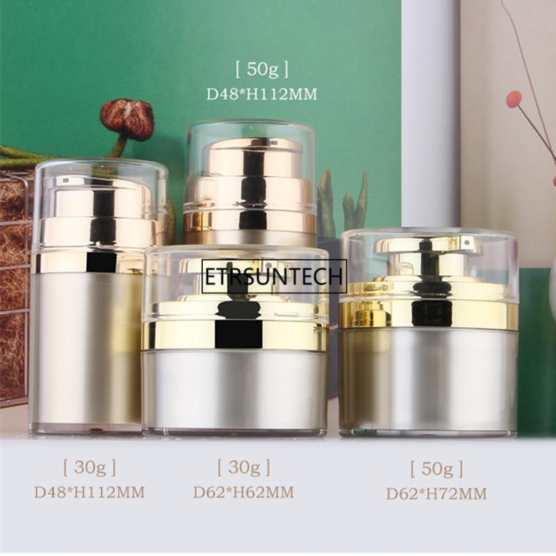 زجاجة كريم مستديرة بدون هواء ، 50 قطعة ، 30 جرام ، 50 جرام ، 30 مللي ، 50 مللي ، لون ذهبي مع مضخة ضغط ، F2388