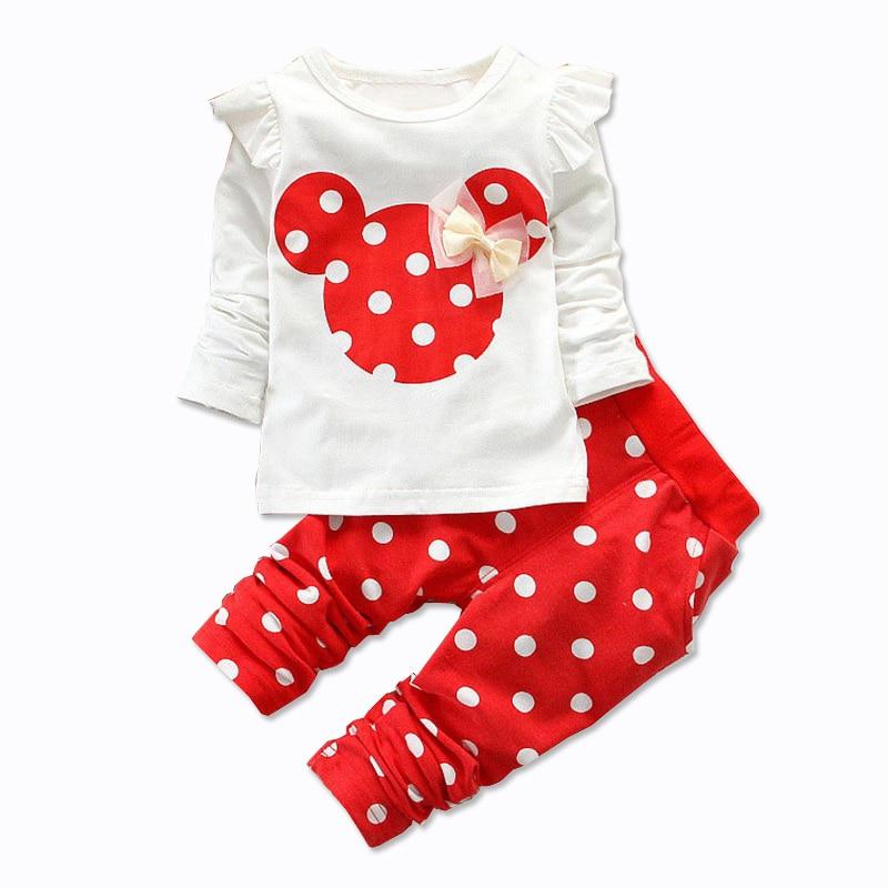 Conjunto de 2 piezas de ropa de bebé de algodón con lazo, camiseta de manga larga con estampado de puntos y pantalones para recién nacidos, ropa para niños, novedad, primavera y otoño