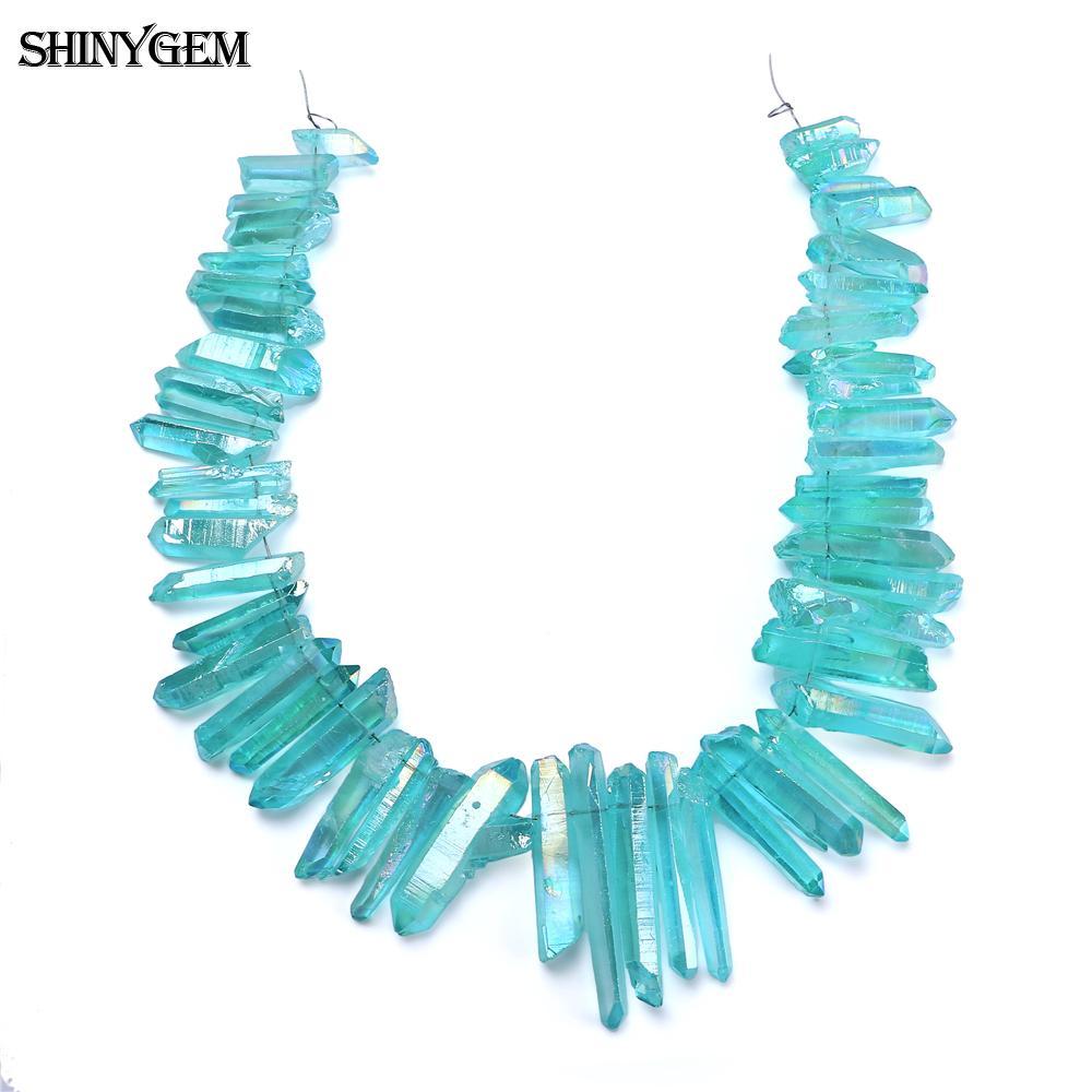 ShinyGem, venta al por mayor, cuentas de pilar de Cristal mar azul, columna de chapado en Arco Iris, Druzy perforado, cuentas de piedra Natural DIY para la fabricación de joyas