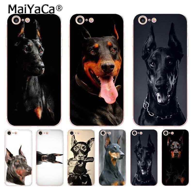 MaiYaCa para iPhone 8 7 6 6S Plus X XS X MAX XR 5S 11pro max caso negro animal doberman Pinscher perro de lujo Cool funda de teléfono