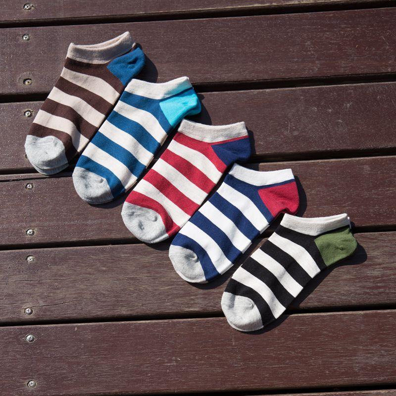 PEONFLY tarja Clássico Primavera e No Outono Cor Contraste Grade Masculino Chinelos Meias Invisíveis Dos Homens Casual Algodão Macio sapatos de Barco dos homens meias