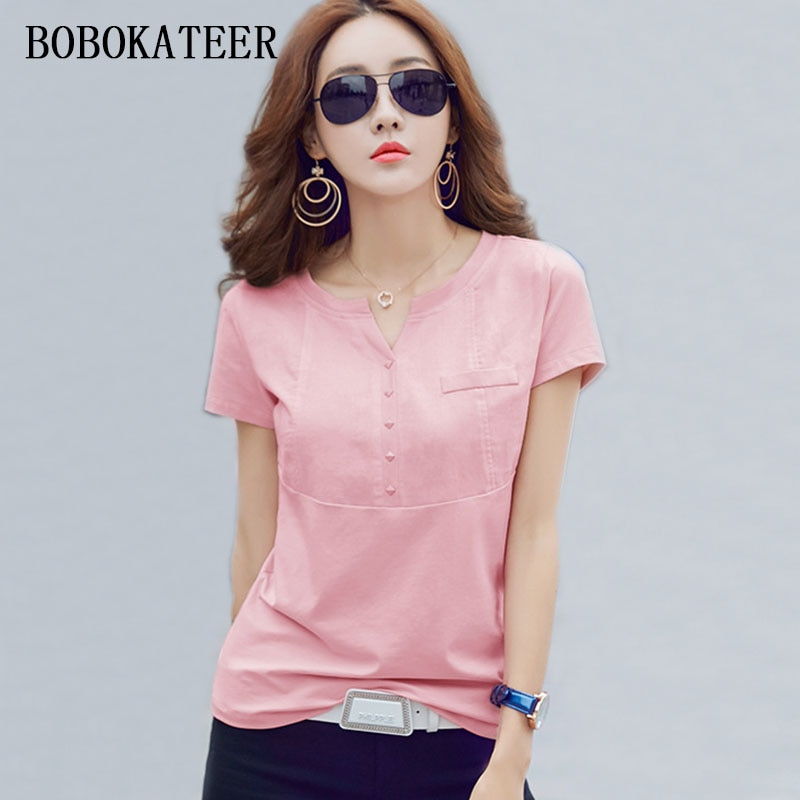 BOBOKATEER slim blanco plus casual tamaño algodón camiseta haut mujeres v-cuello camisetas mujeres 2020 verano tops camisetas divertidas camisetas