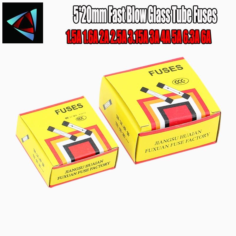 100 unids/lote una venta 5*20mm vidrio de soplado rápido fusibles de tubo 5x20 250V 1.5A 1.6A 2A 2.5A 3.15A 3A 4A 5A 6.3A 6A AMP fusible