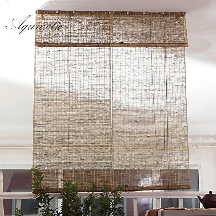 Divisores de habitación Aqumotic y pantallas plegables de privacidad cortina Natural Retro Ramie habitación Split luz decorativa partición de pared