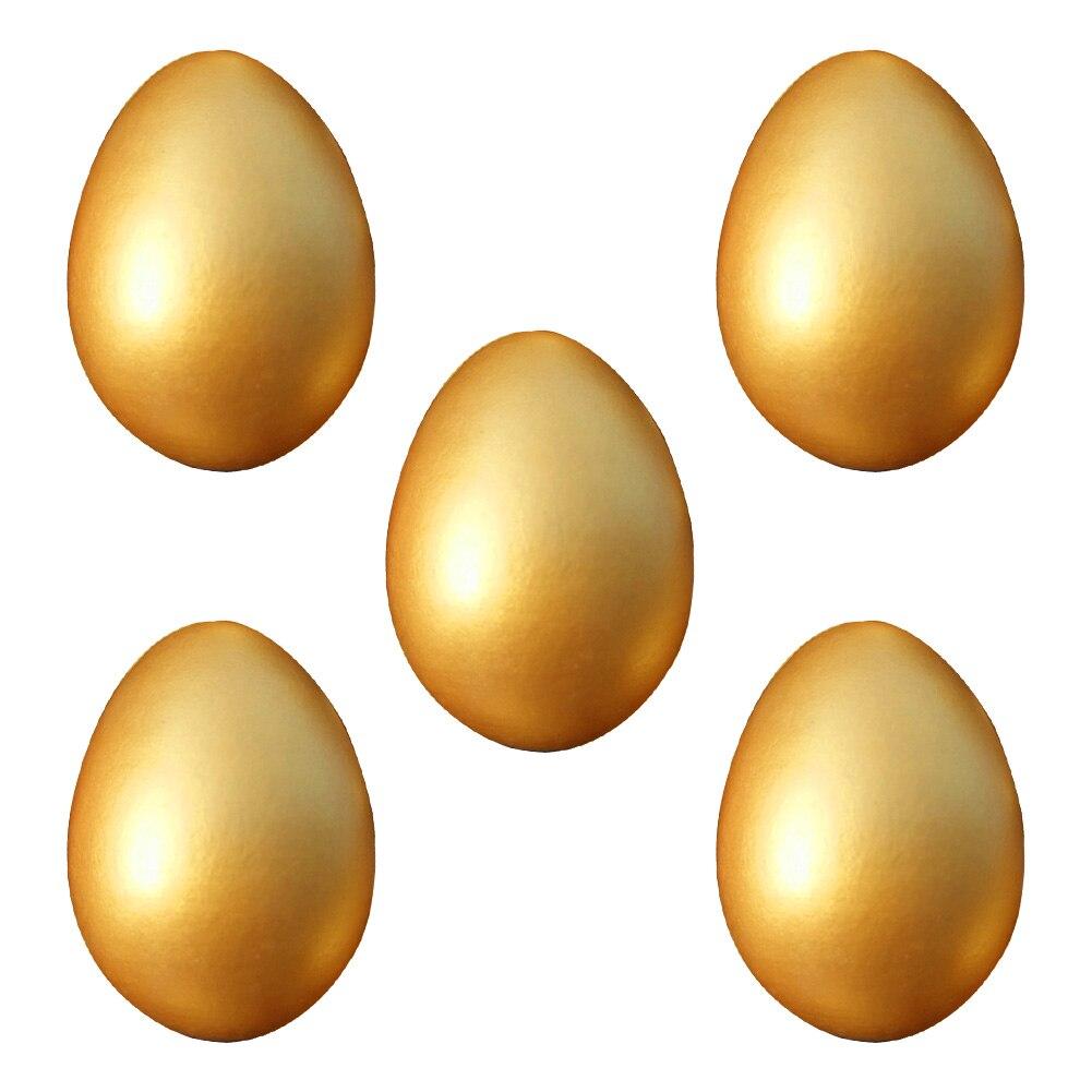 Huevo de Pascua de madera dorado 5 uds. Juego de cocina para niños juguete de comida Favor Diy pintura huevo de Pascua dorado