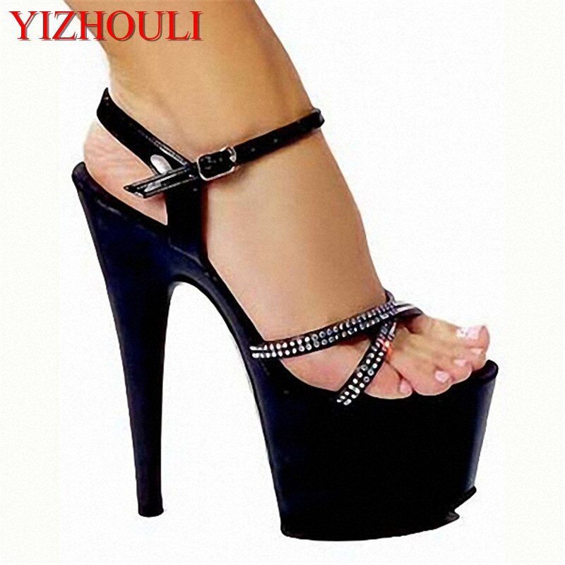 Women shoes Sandals Steel Pipe Dance Shoes Super High Heel 15cm Peep Toe Buckle Strap Thick Soles Dance Shoes