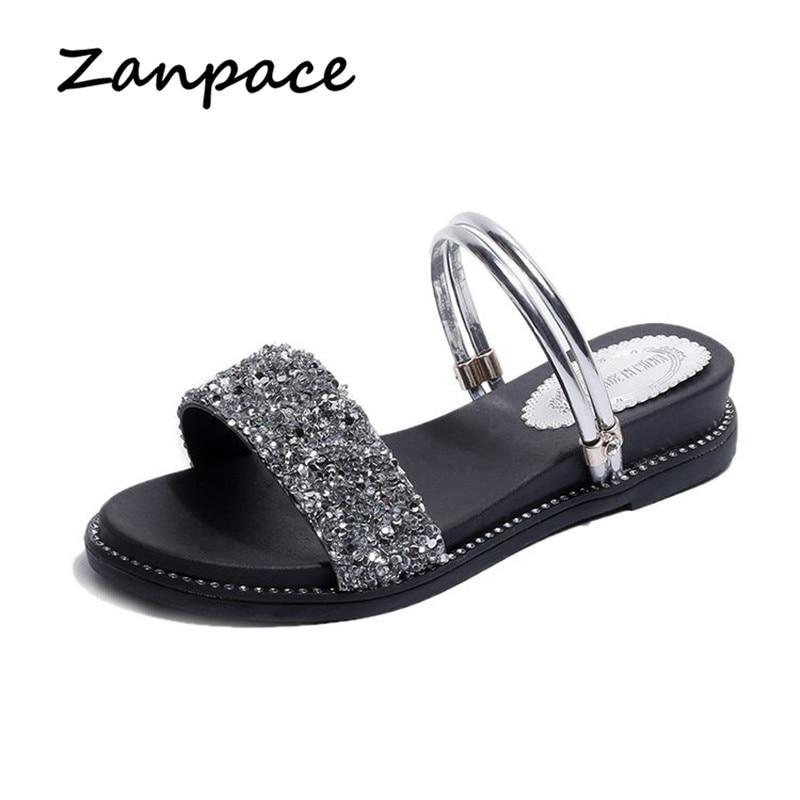 2019 Bling Flat Sandals Women Open Toe Simple Wild Soft Leather Platform Shoes Flip Flop Med Heel Gladiator Flat Sandalias Mujer