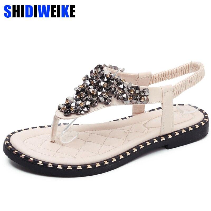 2020 Hot Spring Summer Shoes Bling Sandals Women Flats Heeled Shoes Sequins Gladiator Sandals Women Wedges sandalia femina m571