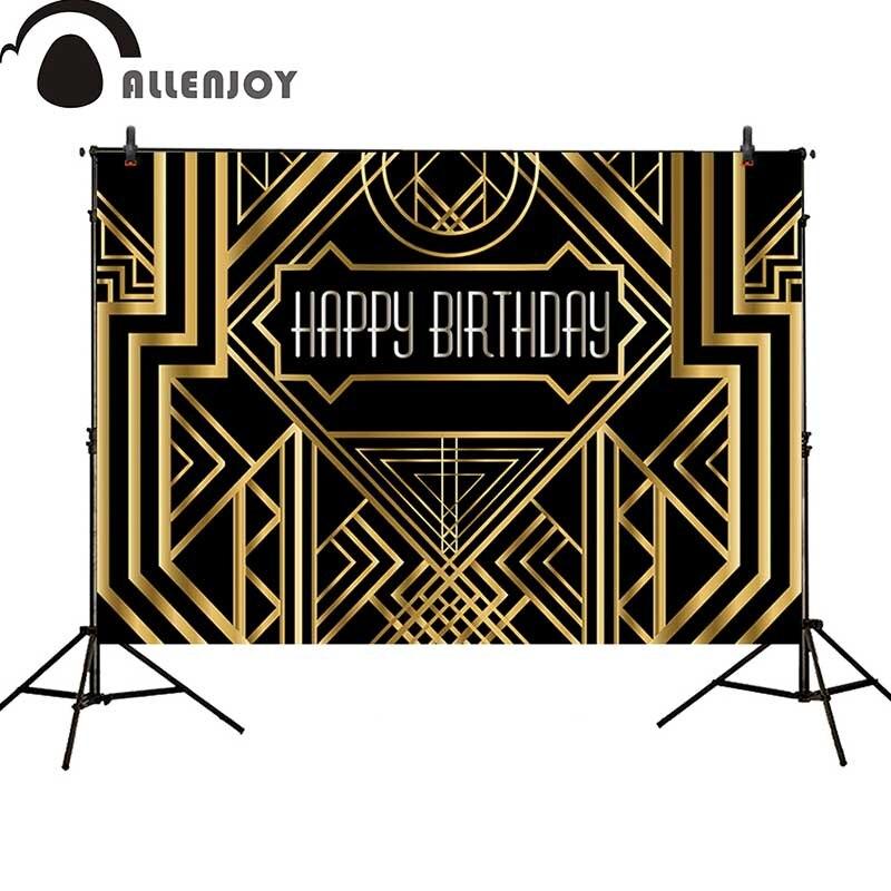Allenjoy toile de fond Gatsby magnifique anniversaire adultes enfants fête noir doré bannière photo studio bébé douche photocall