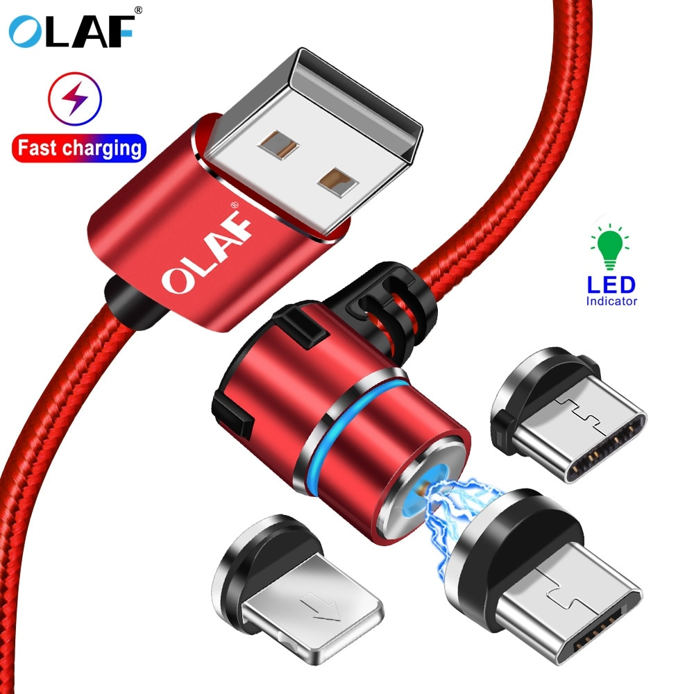 La OLAF L-tipo Cable cargador magnético Micro usb tipo C rápido Cable de carga Microusb USB-C Cable para iPhone Samsung Huawei xiaomi