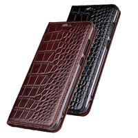 Natural Genuine Cow Leather Cover Case For Xiaomi 6 Mi6 M6 8 9 10 se Lite Pro Crocodile Grain Flip Stand Phone Cover Case