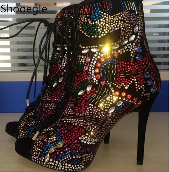 مصنع ريال pic الملونة بلينغ كريستال مربط خليط النساء الصنادل رقيقة عالية الكعب مفتوحة اصبع القدم الدانتيل يصل الصيف صندل الأحذية