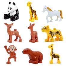 Grande taille zoo animal panda girafe modèle blocs de construction accessoires jouets pour enfants Compatible avec Duplo Animal ensemble briques cadeau