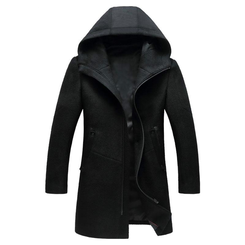 معطف رجالي صوف لخريف وشتاء 2018, معطف رجالي من الصوف بأكمام طويلة مع قلنسوة ، طراز غير رسمي طويل ، معطف رجالي ، معطف خارجي أسود