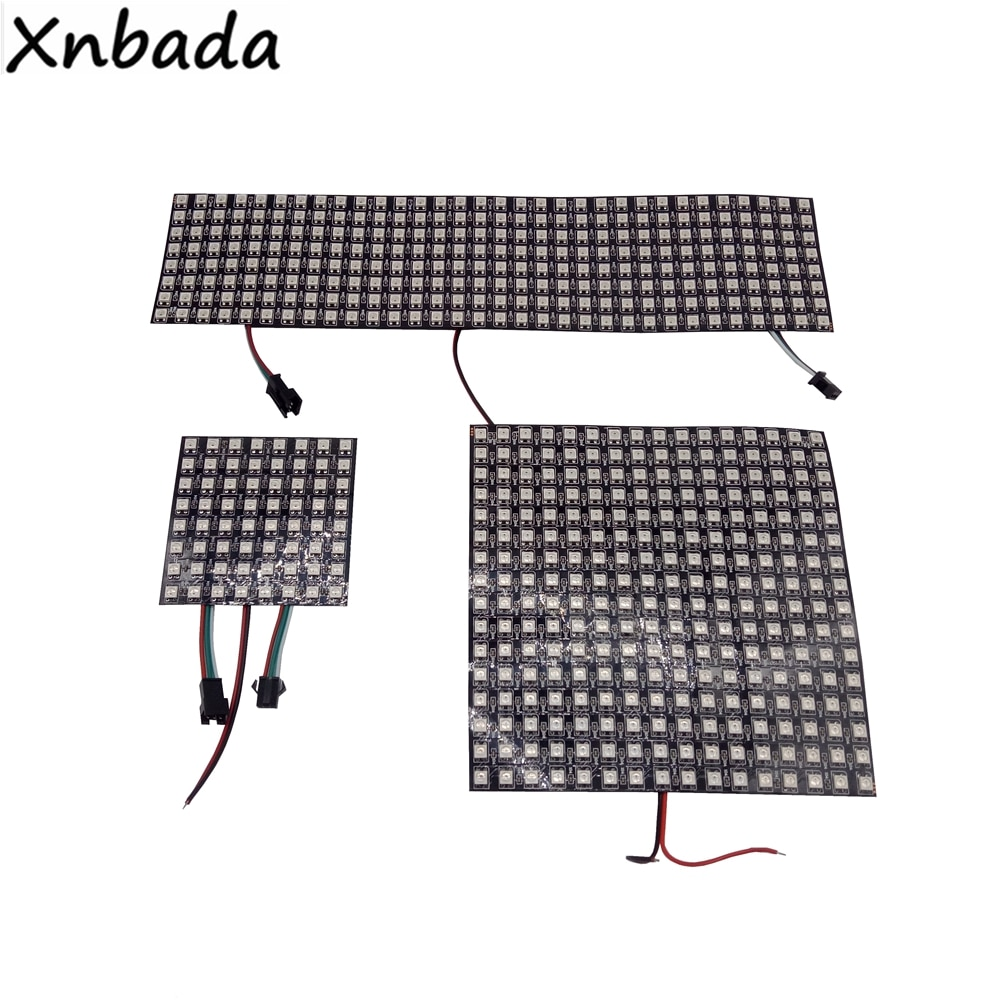 WS2812B светодиодный Панель Экран 8*8,16*16,8*32 Пиксели Гибкий цифровой светодиодный запрограммирован индивидуально адресуемых полный Цвет DC5V