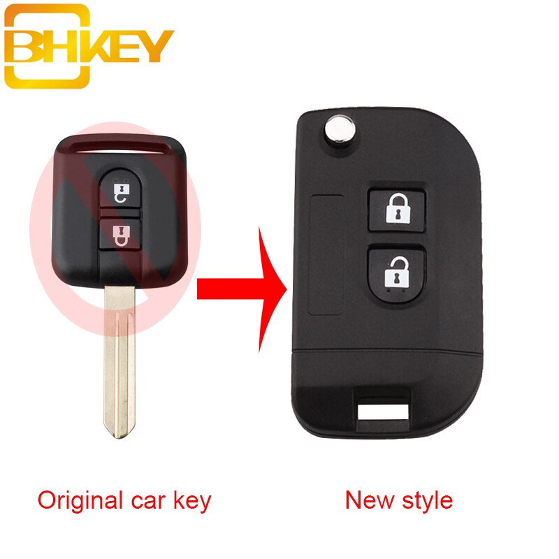 BHKEY Modificar Reequipamento Chave Do Carro Remoto Caso Shell Para Nissan Elgrand X-TRAIL Navara Qashqai Micra Nota Cabster NV200 chaves