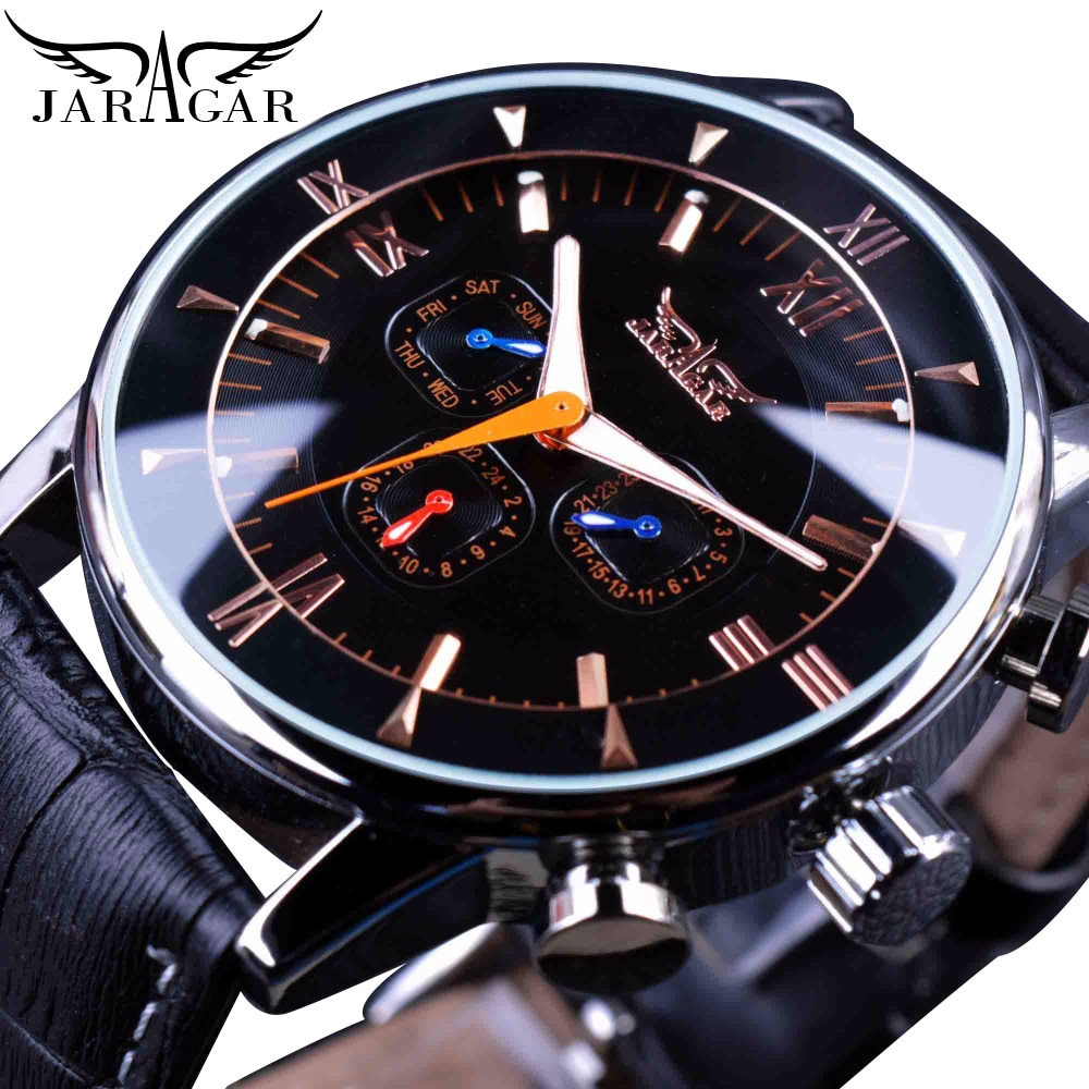 Jaragar Classic Automatic 6 Hands Calendar Luminous Hands Black Leather Band Mens Watches Business L