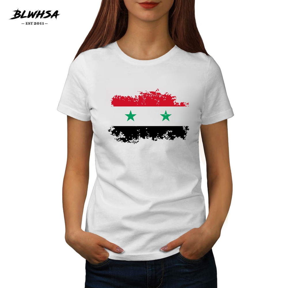 BLWHSA Bandera de Siria mujeres T camisa pantalón corto casual de algodón de manga de impresión de marca camisetas divertido Siria Bandera Nacional Mujer Camisetas