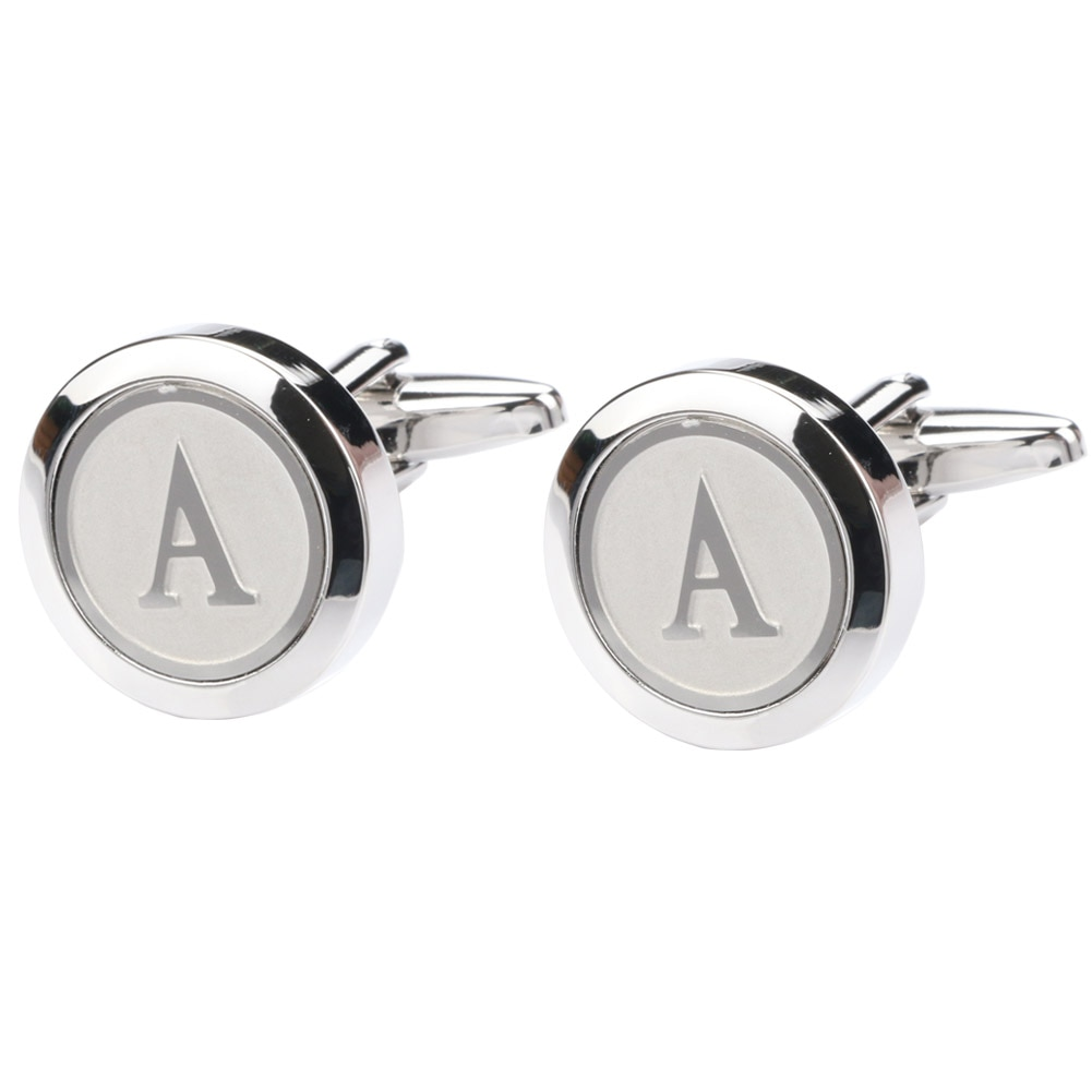 Masculino clássico prata alfabeto letra abotoaduras negócios casamento camisas A-Z abotoaduras e caixa