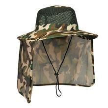 Chapeau de protection solaire en plein air casquette de pêche militaire avec large bord et col châle protection chapeau de Camouflage chapeau de Camping à séchage rapide