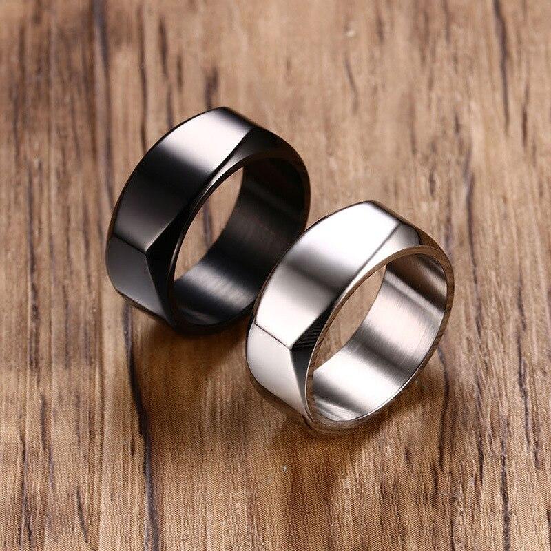 Anillos de moda con personalidad de Color negro para hombre, anillo de acero inoxidable y plata, joyería masculina, anillos de moda para regalo