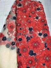 Afrikaanse kant stof 2017 hoge kwaliteit kant stof borduren nigeriaanse kant stoffen met kralen Rood wit