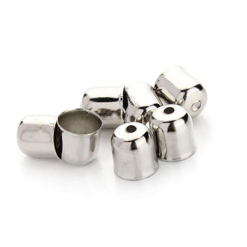 100 unids/lote 6x7mm bronce antiguo/oro/rodio Color cordón tapas de los extremos para 5mm Cordón de cuero redondo joyería hallazgos al por mayor F6