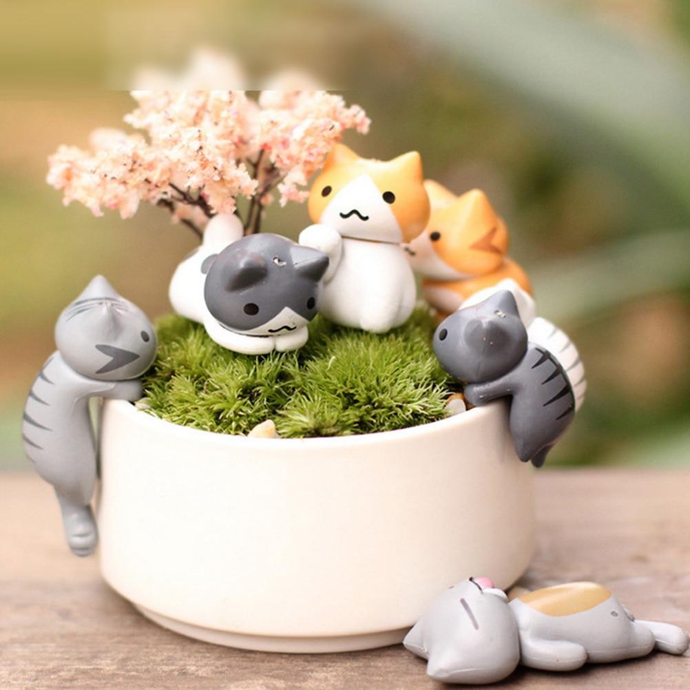 1pc Mini Cats Miniature Cartoon Vivid Garden Miniatures Craft Fairy Decor Micro Landscape Home Plant Pots Bonsai Garden Decor