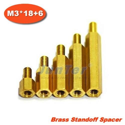 500pcs/lot Brass Standoff Spacer M3 Male x M3 Female -18mm Thread 6mm