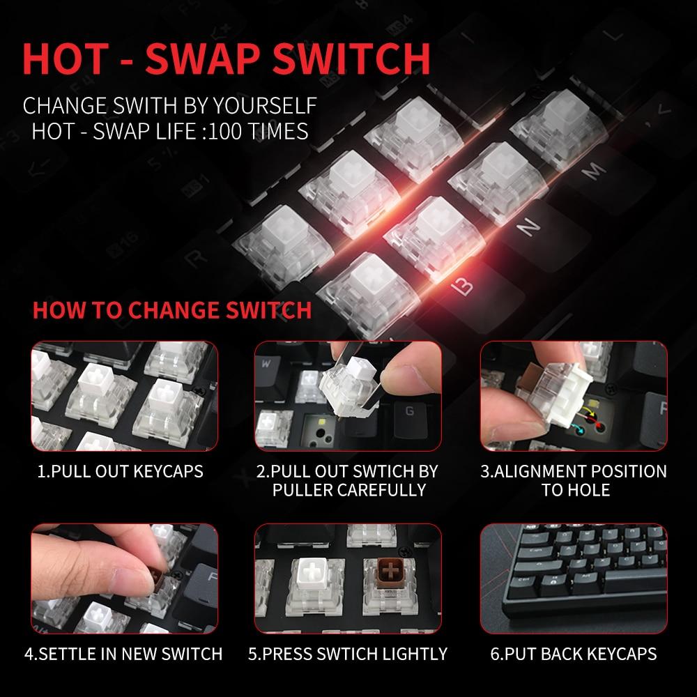 HEXGEARS GK707 87 Key Keyboard White Blue Waterproof Kailh BOX Switch Keyboard Hot Swap Switch Mechanical Gaming Keyboard