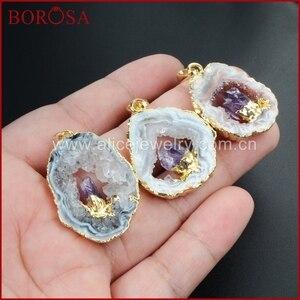 BOROSA Gold Color Natural Color Freeform Natural Onyx Druzy Drusy Crystal Druzy Slice Pendant Inlay Natural Purple Crystal WX007