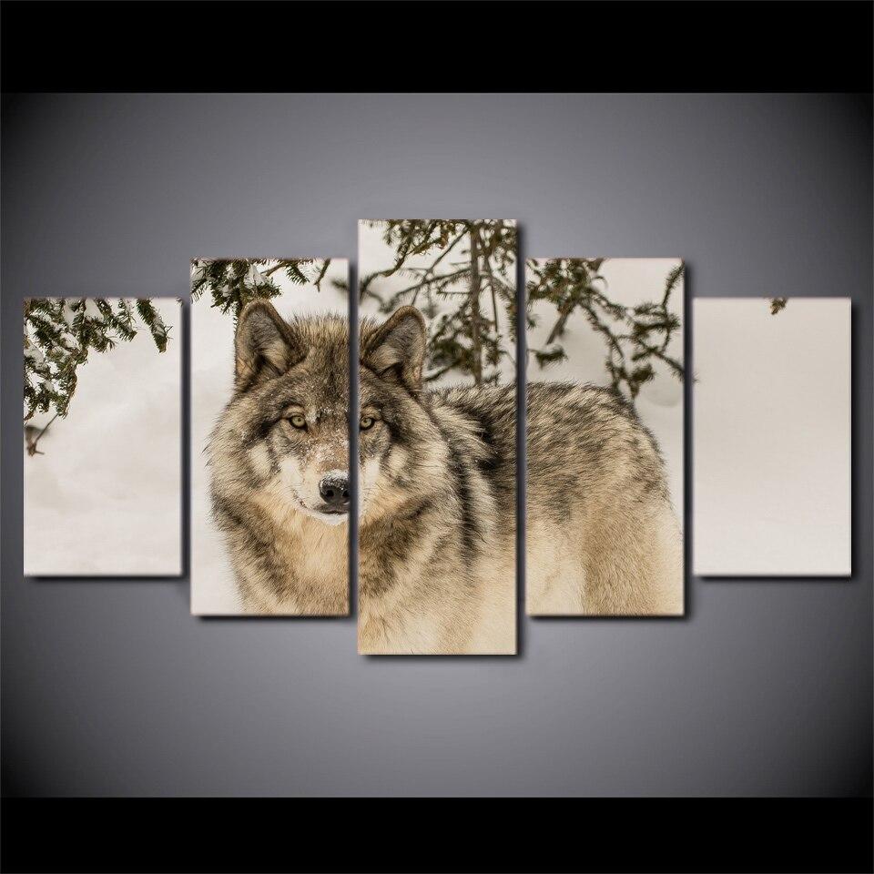 5 Peça HD Impresso Lobo Neve Campo Poster Da Arte do Retrato Da Parede Emoldurado Pintura Em Tela Para Decoração de Sala de estar