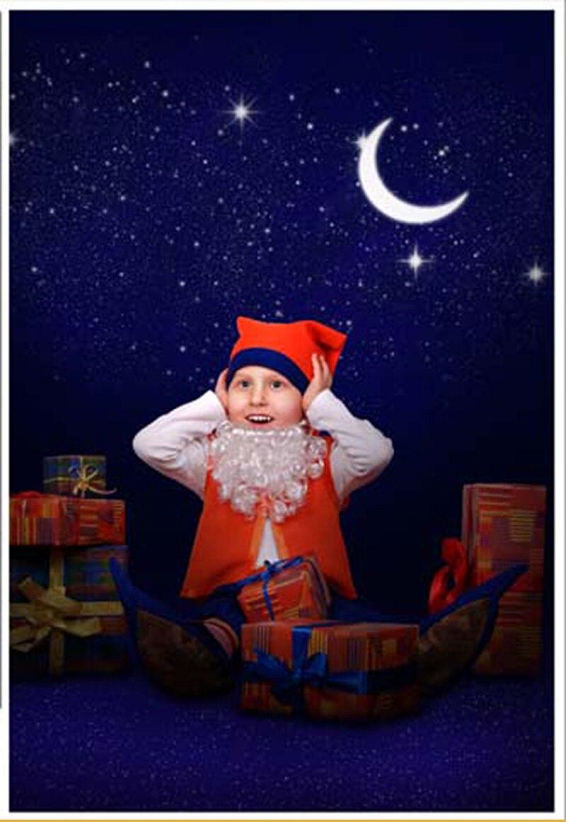Fondo de fotografía de bebé recién nacido con Luna brillante azul profundo con pequeñas estrellas fondo para niños fotos de cumpleaños para estudio fondos personalizados