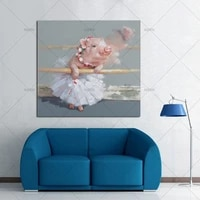 hand painted modern abstract cartoon animal oil painting on canvas lovely pig wearing skirt wall art for living room home decor